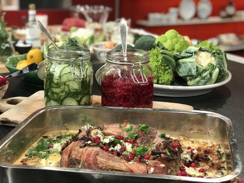 Köttfärskrans med bacon, svamp & ädelost