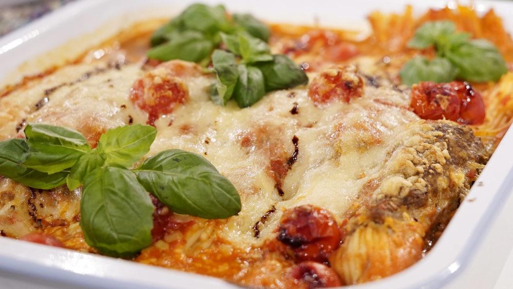 spagetti & köttbullar i ugnen